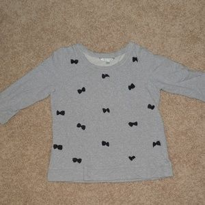 LAUREN CONRAD Gray Sweater with Black Bows (Large)